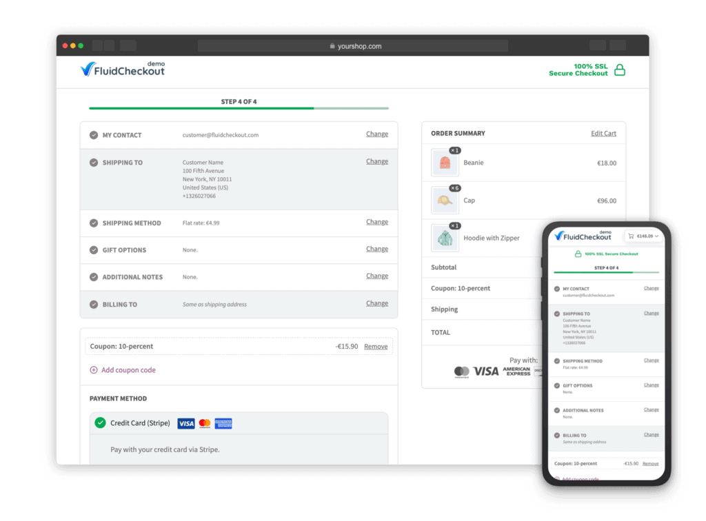 Screenshot showing the Fluid Checkout at the Payment step, with other steps in the order review section.