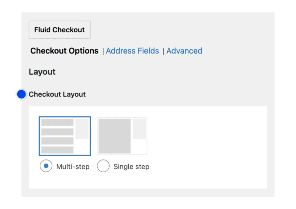 Checkout layout options in the plugins settings