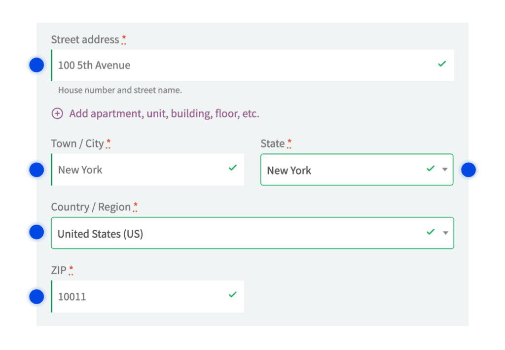 Address fields autocompleted with Google Address Autocomplete