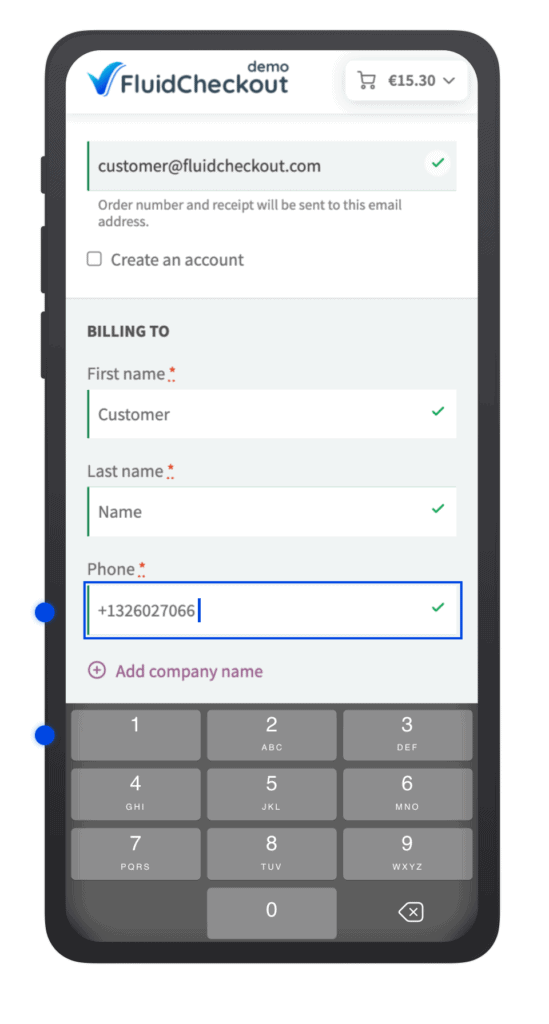 Mobile phone with numeric keyboard open and the phone field in focus