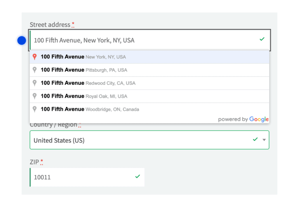 Suggested addresses for autocomplete